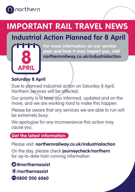 Northern releases timetables for 8 April industrial action